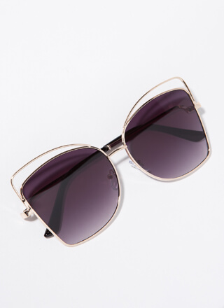 Extra Flare Cut-Out Wire-Rim Sunglasses