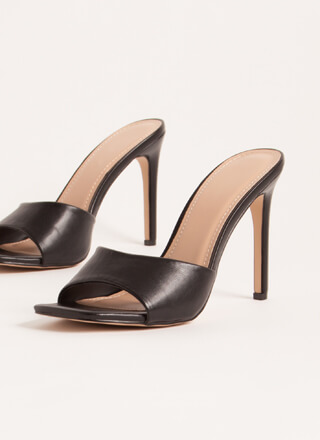 Out Tonight Faux Leather Mule Heels