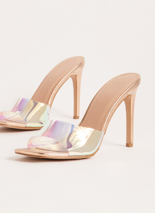 Out Tonight Iridescent Mule Heels