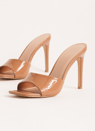 Out Tonight Faux Patent Mule Heels