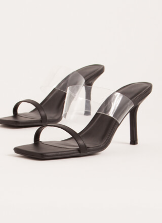 Illusion Clear Strap Faux Leather Heels