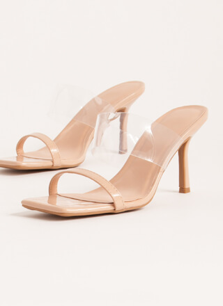 Illusion Clear Strap Faux Patent Heels