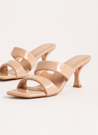 Ones And Twos Faux Patent Mule Heels