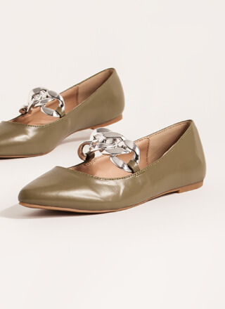Connect Faux Leather Chain Link Flats