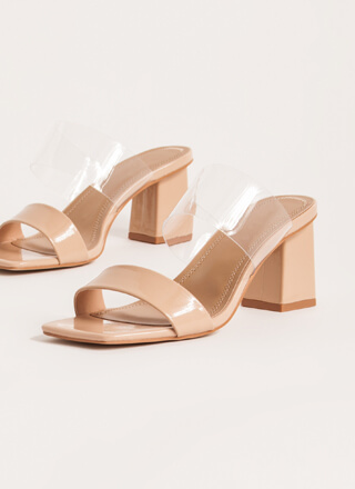 Clear View Faux Patent Block Heels