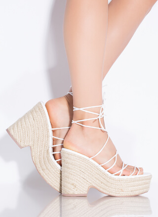 Going On Vacay Lace-Up Espadrille Wedges