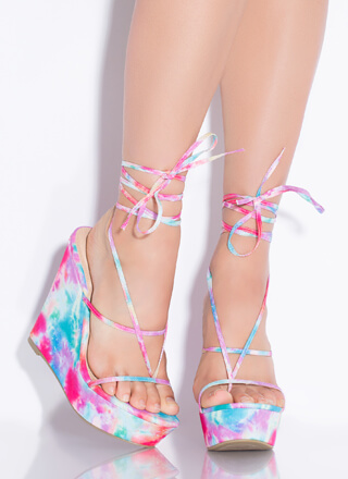 Something Sexy Lace-Up Thong Wedges