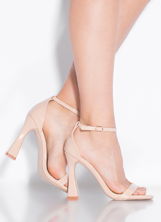 A Little Flare Strappy Faux Patent Heels