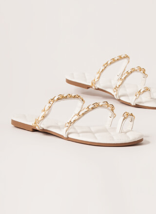 Luxe Links Quilted Chain-Strap Sandals