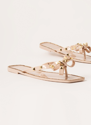 Bow-Up Studded Jeweled Jelly Sandals