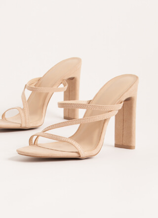Raising The Bar Strappy Faux Suede Heels