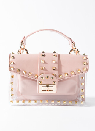 Clear Out Studded 2-Piece Clear Purse