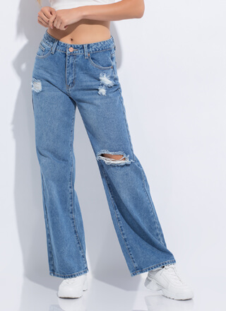 Cool Party Distressed Wide-Leg Jeans