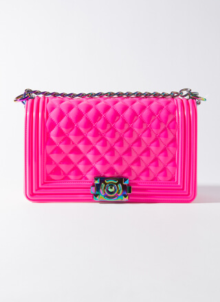 Iridescence Quilted Chained Jelly Purse