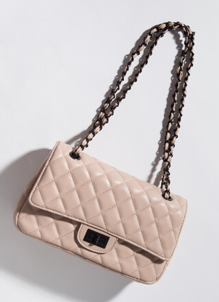 Classic Edge Quilted Chain Strap Bag