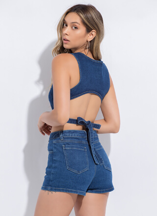 Denim Days Tie-Back Top And Shorts Set