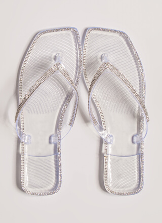 Be Jeweled Jelly Thong Sandals