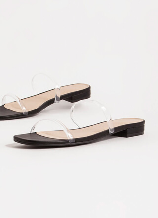 Jelly Clear Strap Faux Leather Sandals