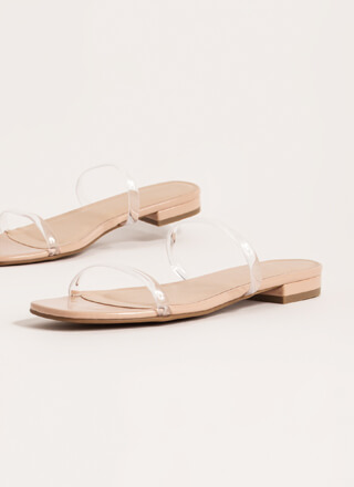 Jelly Clear Strap Faux Patent Sandals