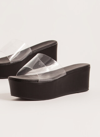 So Clear Faux Leather Platform Wedges