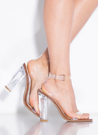 Clearly You Faux Patent Lucite Heels
