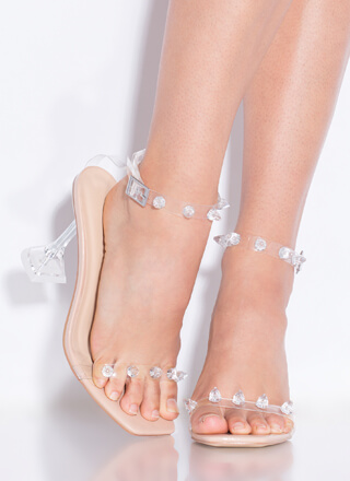 Icy Clear Jeweled Faux Patent Heels