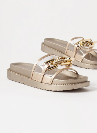 On The Links Clear Chained Slide Sandals
