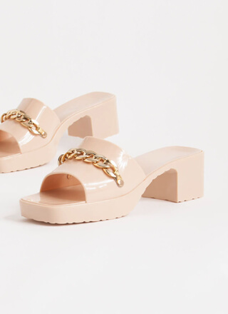 You're So Jelly Chain Accent Block Heels