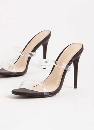 Clear Up Faux Leather Jelly Strap Heels