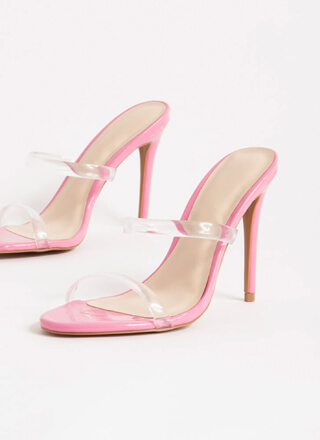 Clear Up Faux Patent Jelly Strap Heels