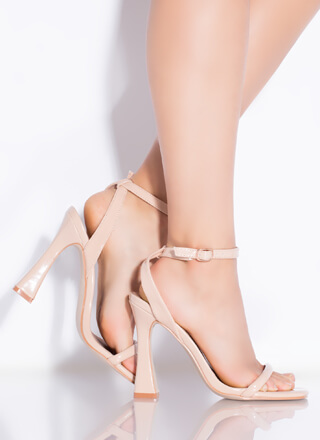A Little Flare Faux Patent Strappy Heels