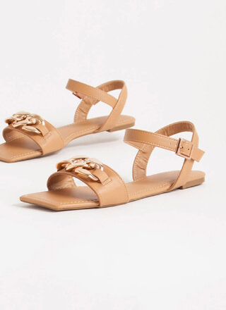 Linked Ankle Strap Chain Accent Sandals
