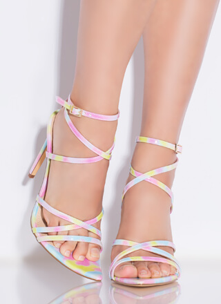 All Straps Pointy Multi-Colored Heels
