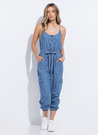 Comfort Level Chambray Jogger Jumpsuit