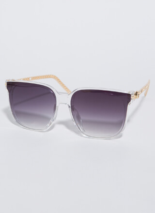 Connected Chain-Link Square Sunglasses