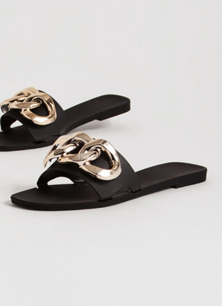 Luxury Spa Chain-Link Matte Jelly Sandals
