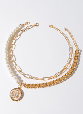 Pearls And Rings Chain Necklace Duo