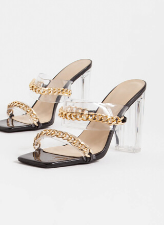 Luxe Links Chained Clear Lucite Heels