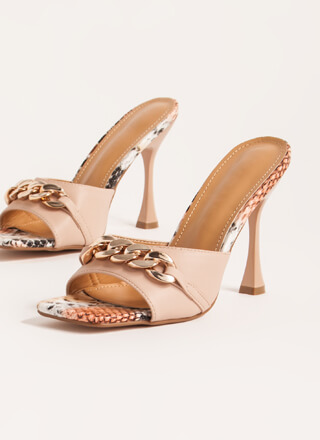 Snake Vibes Chain Accent Mule Heels