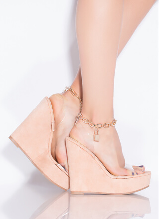 Under Lock And Key Chain Strap Wedges