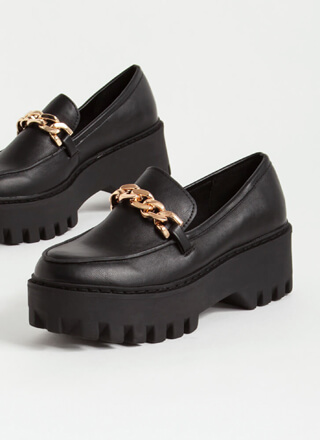 Chain-ge Faux Leather Platform Loafers
