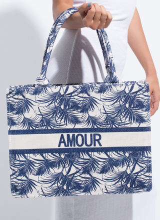 Amour Tropical Large Palm Frond Tote