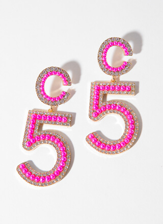 C You In 5 Oversized Jeweled Earrings