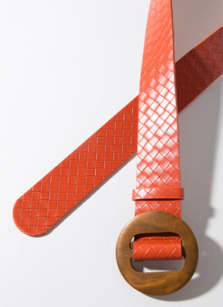 Give Me Texture Woven Round Buckle Belt