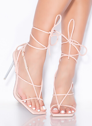 Miami Strappy Lace-Up Lucite Thong Heels