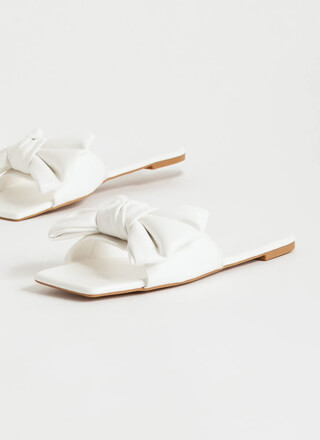 Bow Statement Faux Leather Slide Sandals