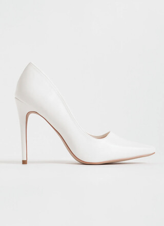 Classic Heel Pointy Faux Leather Pumps