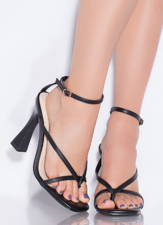 Strappy Summer Faux Leather Thong Heels