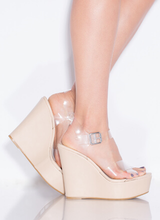 Becoming So Clear Faux Leather Wedges