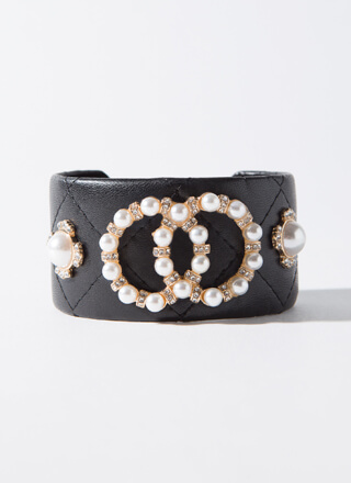 Edgy Girls In Pearls Faux Leather Cuff